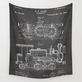 Steam Train Patent - Steam Locomotive Art - Black Chalkboard Wall Tapestry