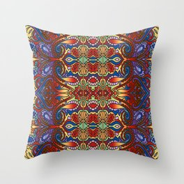Oriental Watercolor Pattern Blue Red 1 Throw Pillow