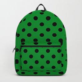 Polka Dot Green And Black Backpack