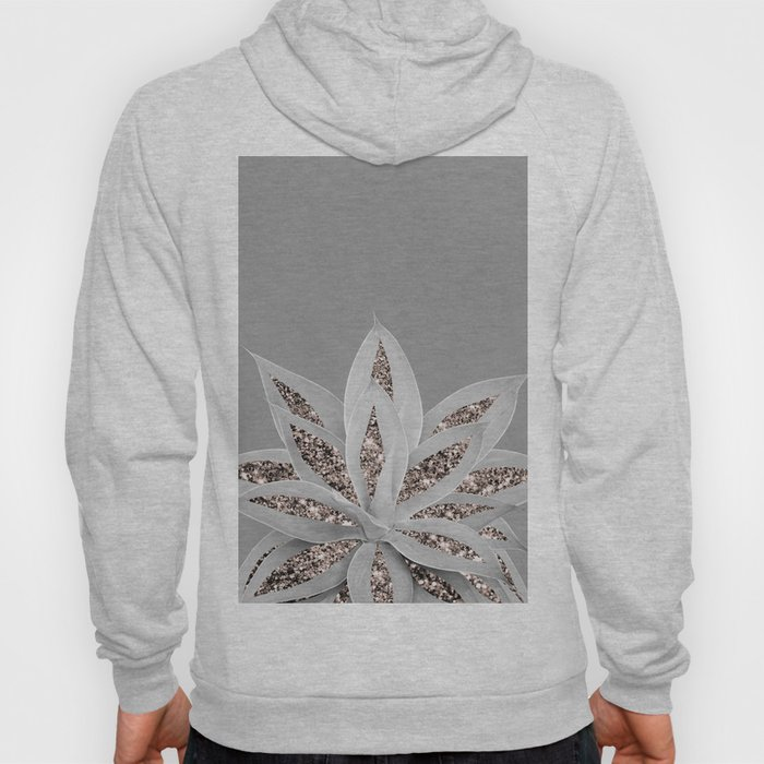 Gray Agave with Rose Gold Glitter #1 #shiny #tropical #decor #art #society6 Hoody