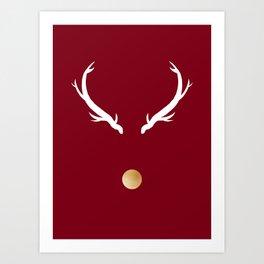 Minimalist Gold Nose Reindeer  Art Print