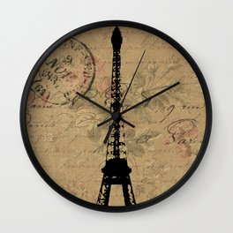 EIFFEL TOWER FRENCH COLLAGE Wall Clock