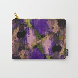 Abstract Nature - Textured, blue, yellow, pink, lilac, purple, black and orange painting Carry-All Pouch