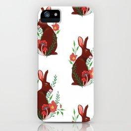 Floral Rabbit Pattern iPhone Case