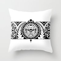 maori Throw Pillows featuring Maori by Reiv