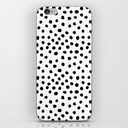 Preppy black and white dots minimal abstract brushstrokes painting illustration pattern print  iPhone Skin