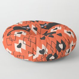 Cats and hearts with diamonds Floor Pillow