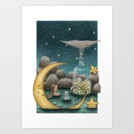 Bath Under The Starry Sky Art Print