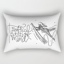 Tropical State Of Mind - Landscape - Black & White Rectangular Pillow