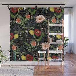 Botanical and Black Cats Wall Mural