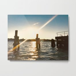 Sunset in Flensburg Harbour Metal Print