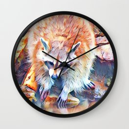 Aquarell Raccoon Wall Clock