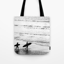 Surfers, Black and White, Beach Photography Tote Bag