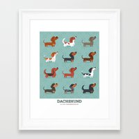 dachshund Framed Art Prints featuring DACHSHUND by DoggieDrawings