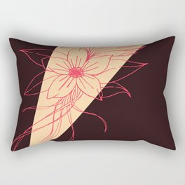 Modern Peach, Coral, and Black Floral Triangles Rectangular Pillow