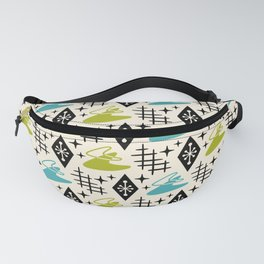 Mid Century Modern Boomerang Abstract Pattern Chartreuse and Turquoise 161 Fanny Pack