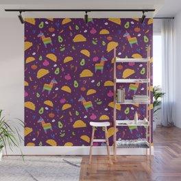 Taco Fiesta in Purple Wall Mural