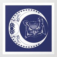 Owl and Moon Art Print