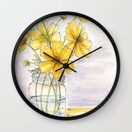 Yellow Cosmos, Still Life Wall Clock