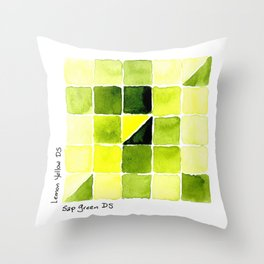 Color Chart - Lemon Yellow (DS) and Sap Green (DS) Throw Pillow