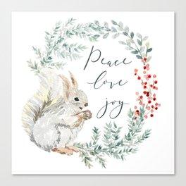 Squirrel. Christmas wreath Canvas Print
