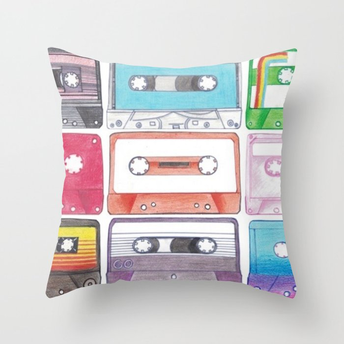 Cassettes Throw Pillow