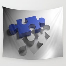 Blue puzzle near its hole Wall Tapestry