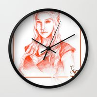 mother of dragons Wall Clocks featuring Mother of dragons by Cassie's Wonderland