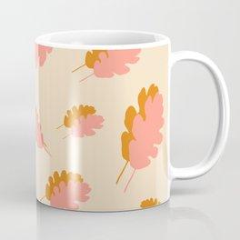 Fall pattern pink mustard oak leaves Coffee Mug