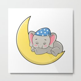 Elephant at Sleeping with Sleeping mask & Moon Metal Print