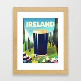 Ireland cartoon travel poster Framed Art Print