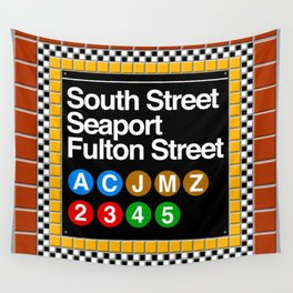 subway south street seaport sign Wall Tapestry