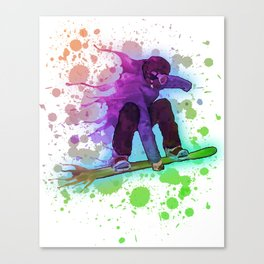Paint splatter rainbow snowboarder Canvas Print