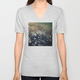Rustic Field of Vintage Country Daisies Unisex V-Neck