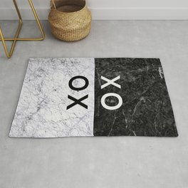 Love Quote Black and White Marble Rug