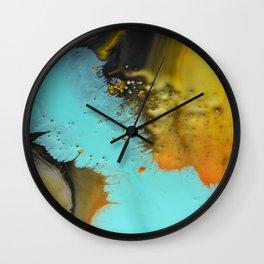 Aqua and orange pillow Wall Clock