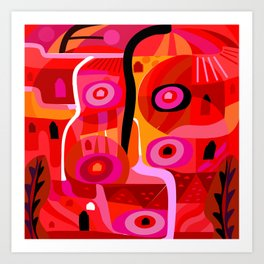 Zacatecas (Red) Art Print