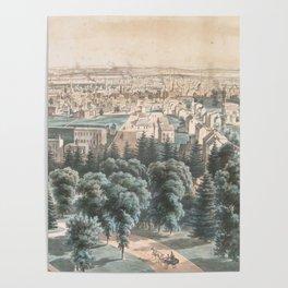 Vintage Pictorial Map of Newark NJ (1853) Poster