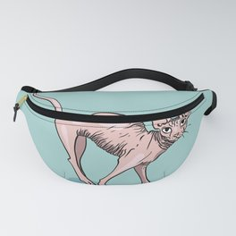 Playful Sphynx Cat Arching Its Back - Wrinkly Nude Kitty - Robins Egg Blue Background Fanny Pack