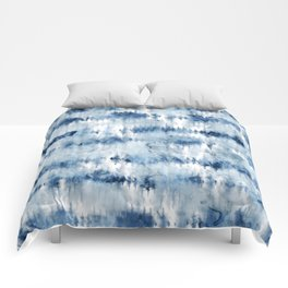 Modern hand painted dark blue tie dye batik watercolor Comforters