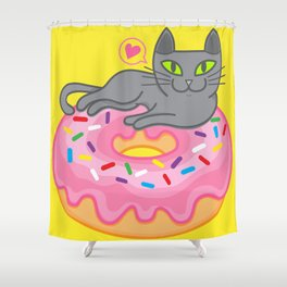 My cat loves donuts. Meow!!! Shower Curtain
