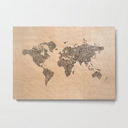 Henna Ink World Map Metal Print