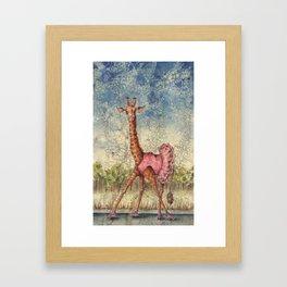 Giraffe in Pink Tutu Framed Art Print