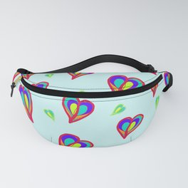 Rainbow Hearts: a fresh, colorful pattern of hearts floating on air, on a pale turquoise background Fanny Pack