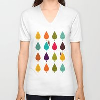 leaves V-neck T-shirts featuring Leaves by Kakel