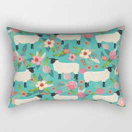 Sheep farm rescue sanctuary floral animal pattern nature lover vegan art Rectangular Pillow