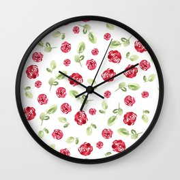 Red Roses Watercolor // Hand Painted // Watercolor Roses and Leaves Wall Clock