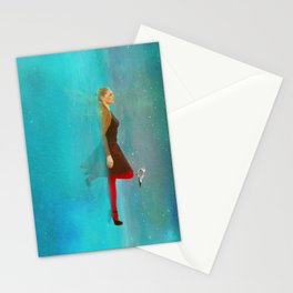 Night sea and woman Stationery Cards
