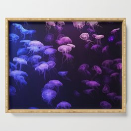 Blue and pink jellyfish Serving Tray