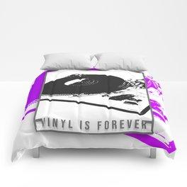 Vinyl is forever print Comforters